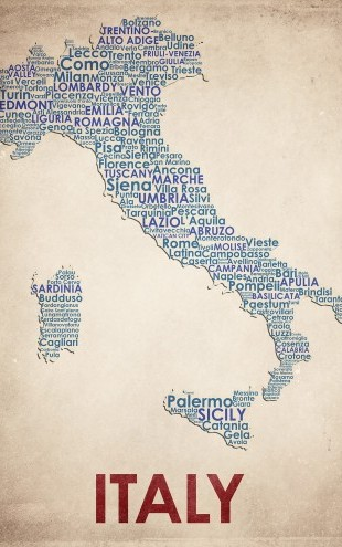 PHOTOWALL / Italy Map (e22959)