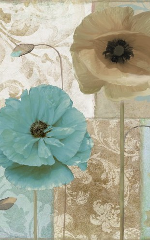 PHOTOWALL / Blue & Beige Flowers (e23022)