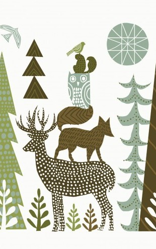 PHOTOWALL / Forest Folklore Green Animals 1 (e23483)