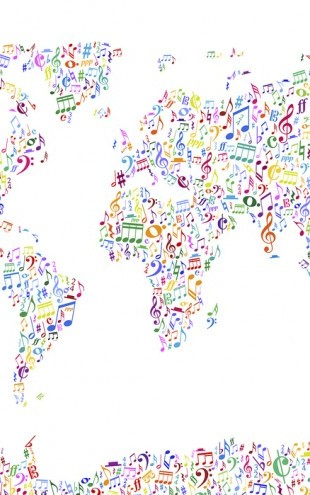 PHOTOWALL / Music Notes World Map Color (e24210)