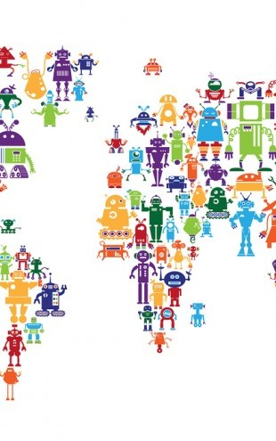 PHOTOWALL / Robots World Map (e24212)