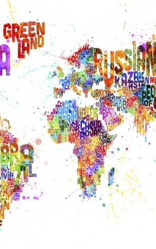 PHOTOWALL / Typographic Text World Map Paint Splash (e24216)