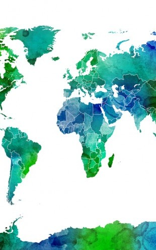 PHOTOWALL / Watercolor World Map Blue & Green (e24217)