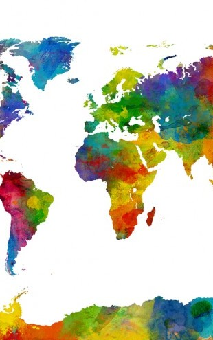 PHOTOWALL / Watercolor World Map Multicolor 2 (e24218)