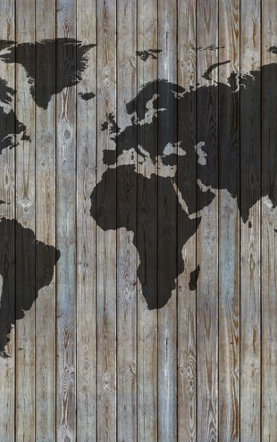 PHOTOWALL / World Map Wooden Plank - Old Silver (e40225)