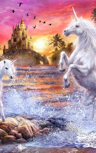 PHOTOWALL / Unicorn Waterfall Sunset (e22873)