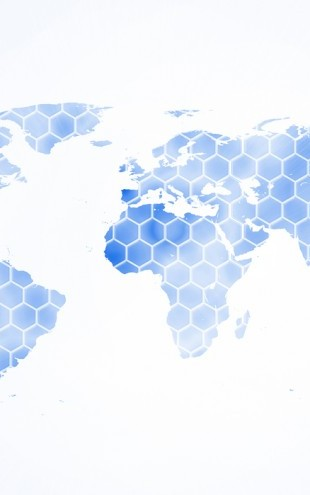 PHOTOWALL / Blue Hexagon World Map (e25002)