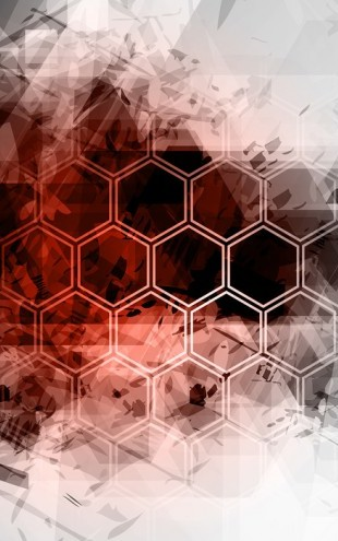 PHOTOWALL / Red Hexagon Background (e25044)