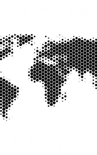 PHOTOWALL / World Map Metal Sheet - Black (e25053)