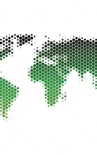 PHOTOWALL / World Map Metal Sheet - Green (e25055)