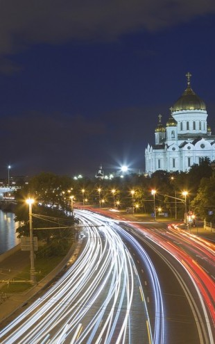 PHOTOWALL / Moscow Traffic at Night (e40370)