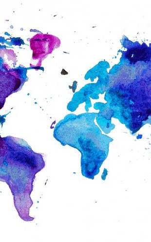 PHOTOWALL / Watercolor World Map Blue (e25821)