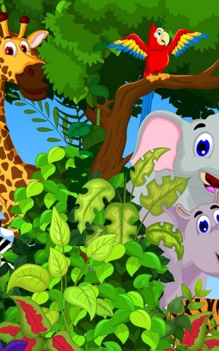 PHOTOWALL / Animals in Forest Cartoon (e25827)