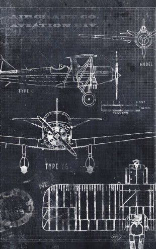 PHOTOWALL / Airplane Blueprint - Black (e30076)