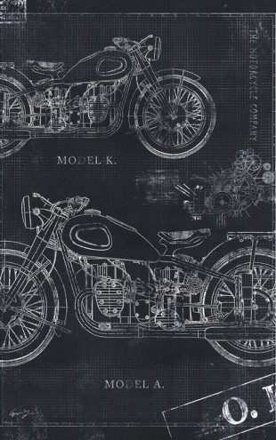 PHOTOWALL / Motorcycle Blueprint - Grey (e30078)