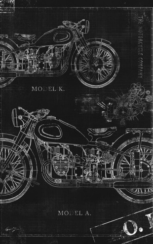 PHOTOWALL / Motorcycle Blueprint - Black (e30079)