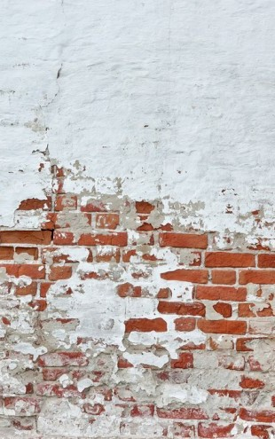 PHOTOWALL / Red Brick Wall with Sprinkled White Plaster (e40677)