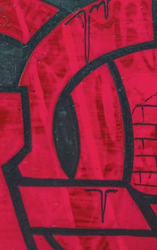 PHOTOWALL / Red Detail from Graffiti Wall (e40678)