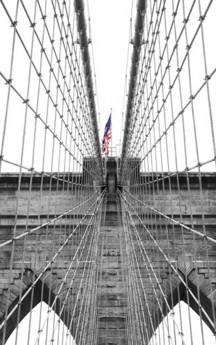 PHOTOWALL / Brooklyn Bridge American Flag 2 (e40758)