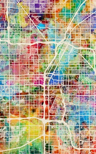 PHOTOWALL / Las Vegas Street Map Multicolour (e50087)