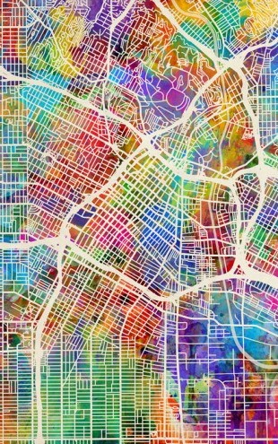 PHOTOWALL / Los Angeles Street Map Multicolour (e50095)
