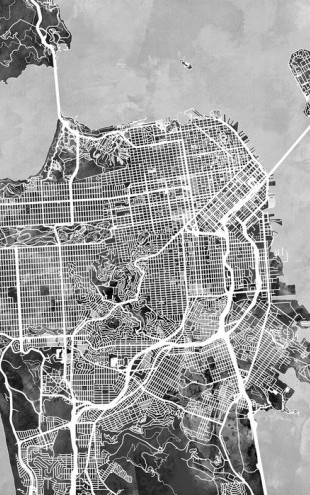 PHOTOWALL / San Fransisco Street Map B/W (e50110)