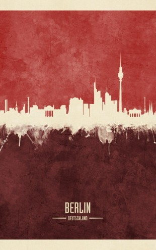 PHOTOWALL / Berlin Germany Skyline Red (e310707)