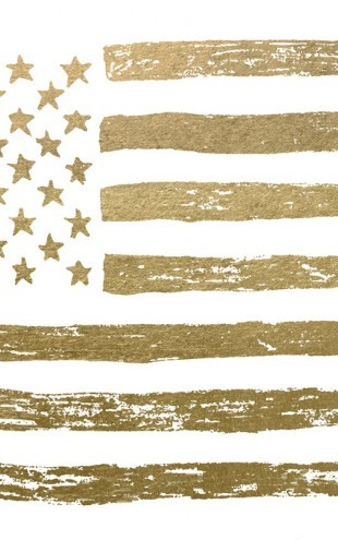 PHOTOWALL / Gold U.S. Flag (e311346)