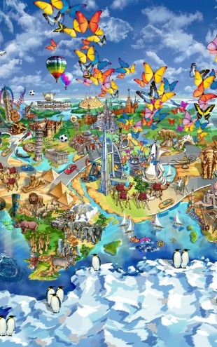 PHOTOWALL / World Wonders Illustrated Map (e312722)