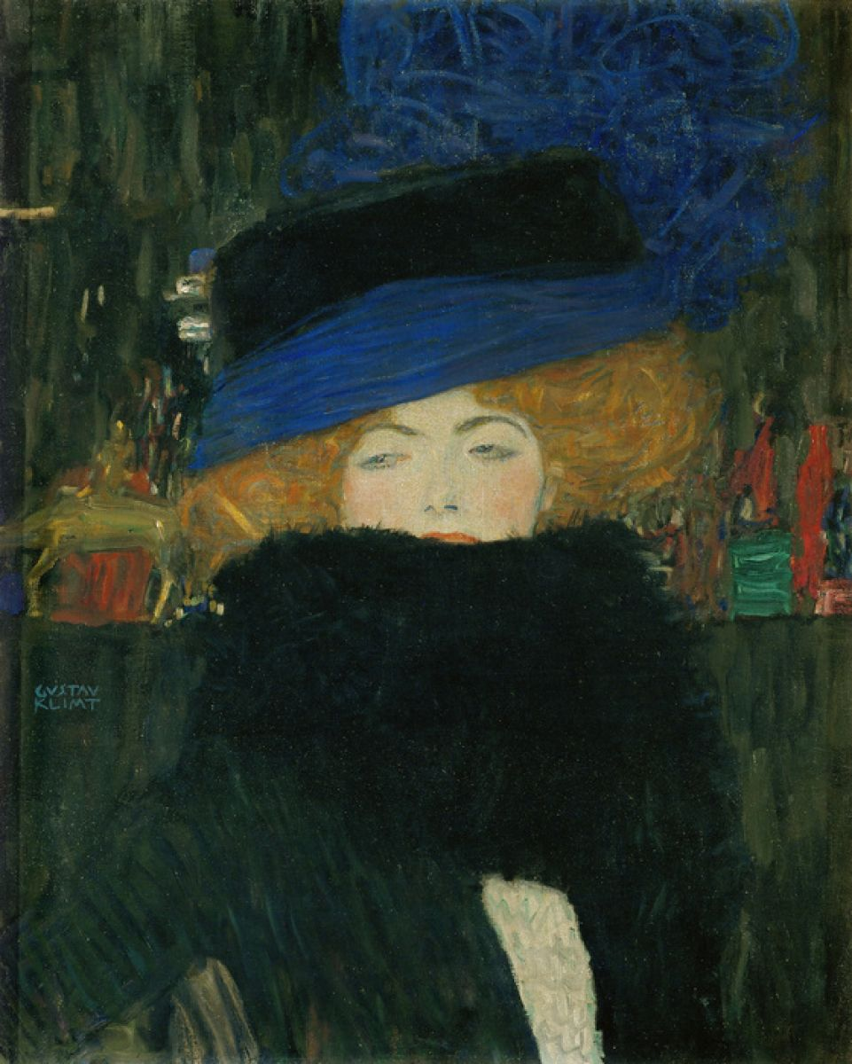 Photowall Lady With Hat And Feather Boa Gustav Klimt 輸入壁紙専門店 Walpa