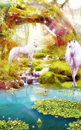 PHOTOWALL / Unicorns in Dreamy Landscape (e317712)