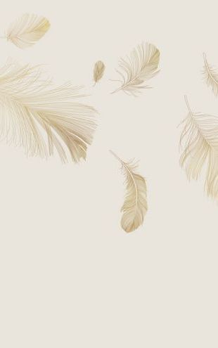 PHOTOWALL / Flying Feathers - Soft Beige (e318454)