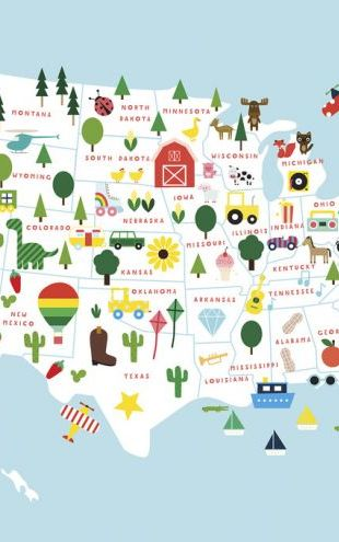 PHOTOWALL / Fun USA Map (e325386)