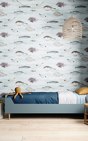 Sian Zeng / Classic Fish Wallpaper Blue Green