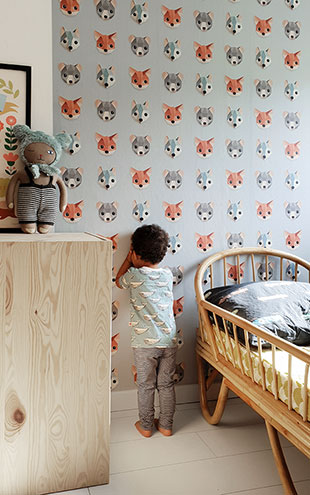 studio ditte / Forest animals wallpaper / Ice blue【2パネル1セット】