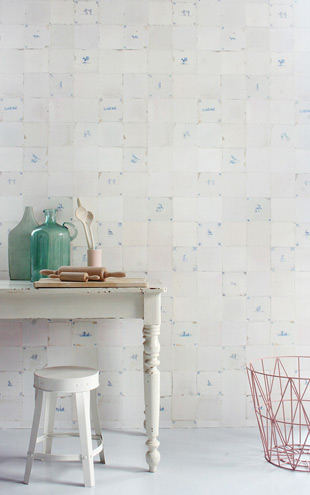 studio ditte / Tiles Wallpaper/antique-blue