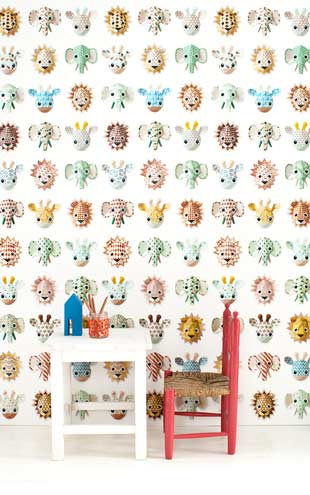 studio ditte Wild Animals Wallpaper / sweet