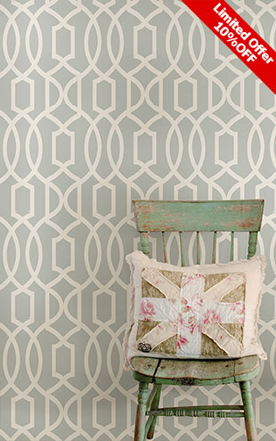 はがせる シール 壁紙 NU WALLPAPER / Gray Grand Trellis Peel And Stick Wallpaper / NU1421