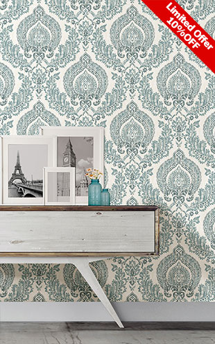 はがせる シール 壁紙 NU WALLPAPER / Kensington Damask Blue Peel and Stick Wallpaper / NU1702