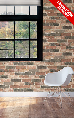 はがせる シール 壁紙 NU WALLPAPER / Newport Reclaimed Brick Peel and Stick Wallpaper / NU2064(NUS2064)