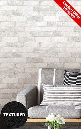 はがせる シール 壁紙 NU WALLPAPER / LOFT WHITE BRICK  Peel And Stick Wallpaper / NU2218