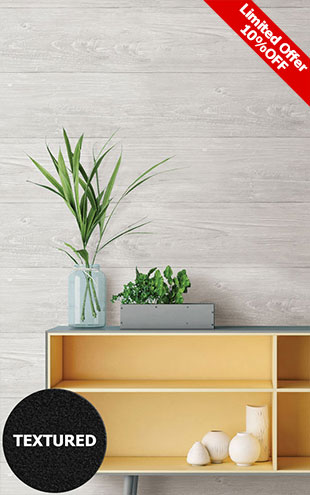 はがせる シール 壁紙 NU WALLPAPER / GREY WOOD PLANK Peel And Stick Wallpaper / NU2397(NUS2397)