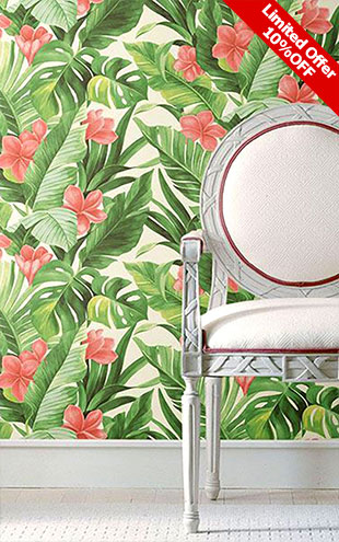 はがせる シール 壁紙 NU WALLPAPER / Tropical Paradise Peel and Stick Wallpaper / NU2926