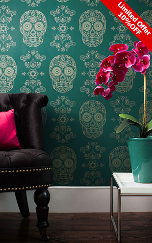 Anatomy Boutique / Day of the Dead Sugar Skull Wallpaper Emerald & Gold