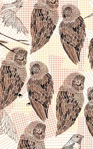 Wall&Deco / Contemporary Wallpaper 2016 Talva Design PENCIL BIRDS WDPB1602