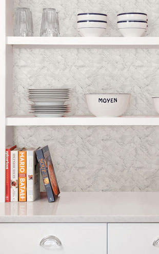 BACKSPLASH タイルシート / HERRINGBONE CARRARA MARBLE / NH2358