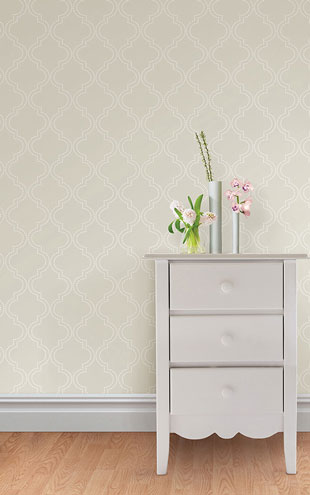 はがせる シール 壁紙 NU WALLPAPER / Taupe Quatrefoil Peel And Stick Wallpaper / NU1425