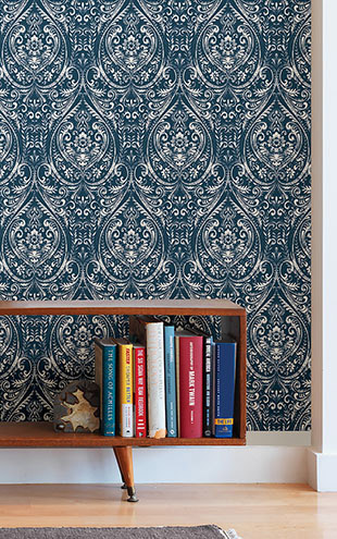 はがせる シール 壁紙 NU WALLPAPER / Bohemian Damask Indigo Peel and Stick Wallpaper / NU1689