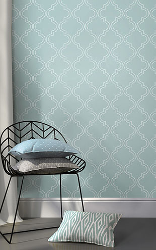 はがせる シール 壁紙 NU WALLPAPER / Slate Blue Quatrefoil Peel And Stick Wallpaper / NU1826