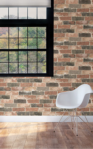 【限定数】はがせる シール 壁紙 NU WALLPAPER / Newport Reclaimed Brick Peel and Stick Wallpaper / NU2064(NUS2064)